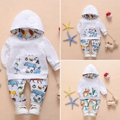 UK Kids Baby Girl Autumn Clothes Animal Print Hooded Tops+Leggings Pants Outfit • 6.99£