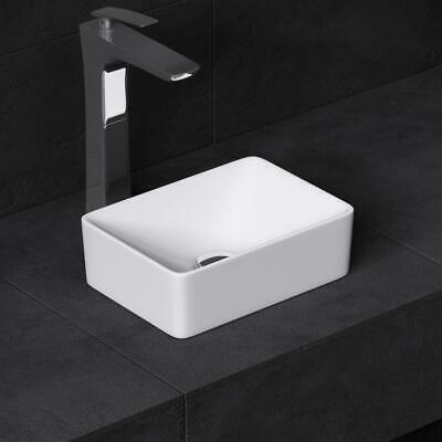 Small Countertop WC Cloakroom Basin Bowl White Ceramic No Tap Hole Hand Wash • 44.85£