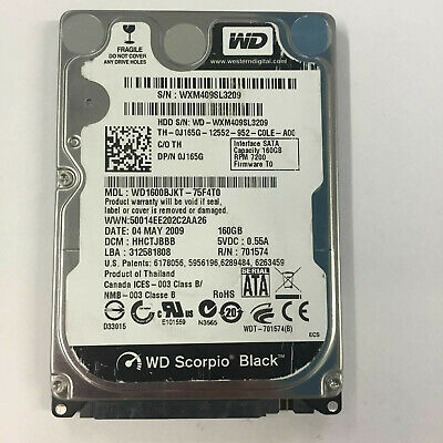 AU49 • Buy WD Scorpio Black 160GB 7200RPM 2.5  SATA 3.0Gbs HDD Hard Drive WD1600BJKT-75F4T0