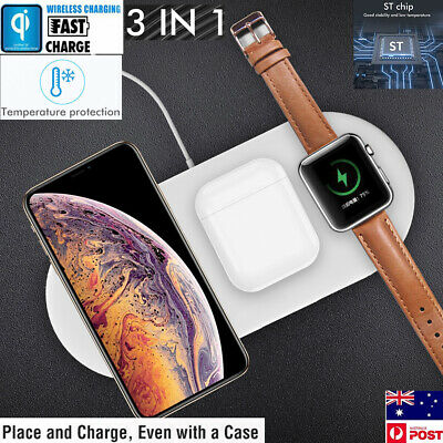 $ CDN20.20 • Buy 3in1 QI Wireless Charger Charging Station Dock For Apple Watch/iPhone/AirPods CA