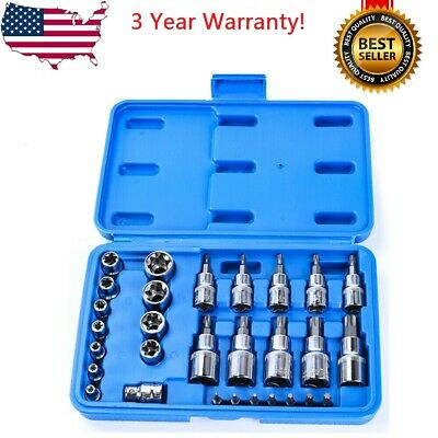 $15.99 • Buy 30pc Male Tamper Proof Star Bit & Female E Socket Set Torx Driver Bits Tool CR-V