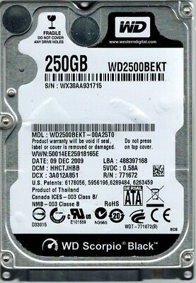 AU55.36 • Buy Western Digital Scorpio Black 250GB 2.5  SATA Laptop Hard Drive- WD2500BEKT