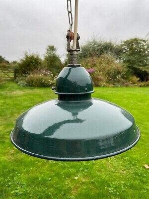 £135 • Buy Vintage French Industrial Enamel Pendant Light Lamp Shade Green 4 Available