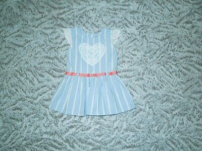 $9.15 • Buy Little Lass Toddler Girl White Blue Coral Short Sleeve Belted Dress Size 24M