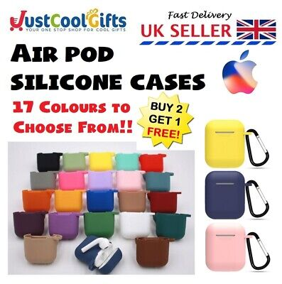 Apple Air Pods Case Silicone Waterproof Cover Skin Strap Key Ring UK  • 1.97£
