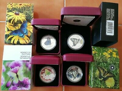 Complete Canada 2013 2014 2015 $20 Butterfly 1 Oz Silver Coin Set & 50 Cents • 151.53$