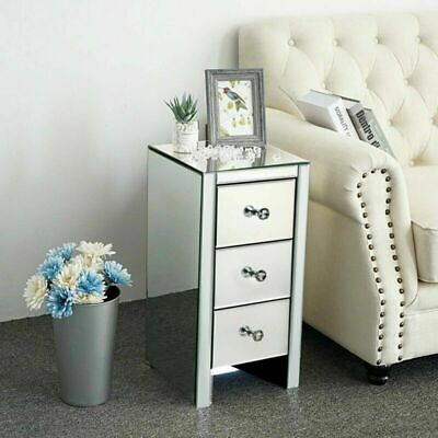 £81.59 • Buy Mirrored Glass Bedside Cabinets Tables Crystal Chest Nightstand Bedroom Drawers