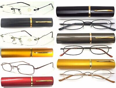 £4.99 • Buy Easy Carry Tube Case Metal Reading Glasses Thin&Lightweight Flexible Arms Design