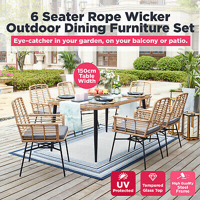AU549 • Buy 7pc Outdoor Dining Furniture Set Wicker Garden Patio 6 Seater Table And Chairs