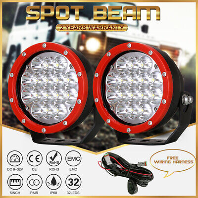 AU68.95 • Buy Pair LED Driving Lights 5inch Red Round OffRoad Truck 4X4 Spot Headlight 12V 24V