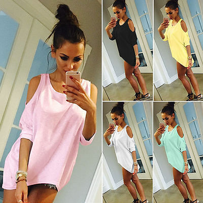 AU22.39 • Buy Womens Cold Shoulder Half Sleeve Blouse T-Shirt Scoop Neck Baggy Tunic Tops Tees
