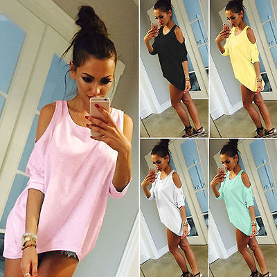 AU12.99 • Buy Womens Cold Shoulder Half Sleeve Blouse T-Shirt Scoop Neck Baggy Tunic Tops Tees