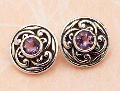 Celtic Sterling Silver Stud Earrings Set With Amethyst Stones. • 12.99£