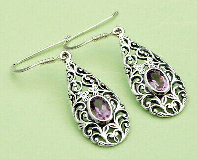 Sterling Silver Drop Earrings Set With Amethyst Stones • 14.99£