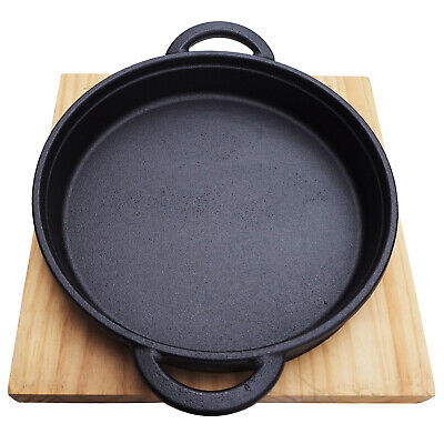 £18.89 • Buy Cast Iron Cookware Frying Pan Grill Backing Pot Skillet With Wood Serving Board