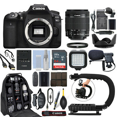 AU1676.38 • Buy Canon EOS 90D Digital SLR Camera With 18-55mm IS STM Lens + 64GB Pro Video Kit