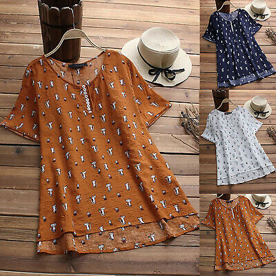 AU16.81 • Buy Womens Short Sleeve Tunic Tops Cartoon Cat Print Baggy T-Shirt Blouse Plus Size