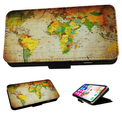 World Map - Flip Phone Case Wallet Cover Fits Iphone 6 7 8 X 11 • 5.95£