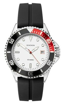 £23.99 • Buy Sekonda Mens Sports Watch With White Dial And Black Rubber Strap 1797
