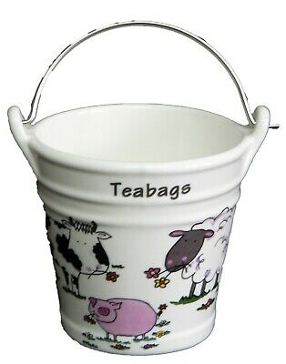 £9.57 • Buy Farmyard Teabag Tidy Large Bucket, Decorated With Sheep Pig Cow Design