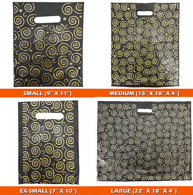 Strong Black & Gold Printed Carrier Bags Fashion Gift Designer Jewellery Party • 5.77£