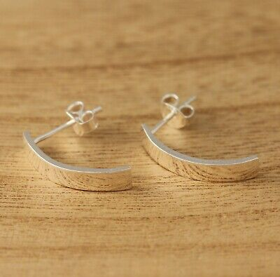 Solid 925 Sterling Silver Plain Earrings Stylish Curved Half Hoop Earrings • 11.98£