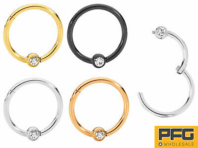 AU9.99 • Buy 1 Piece Stainless Steel Gem Segment Ball Closure Ring - 16G - Sold Individually