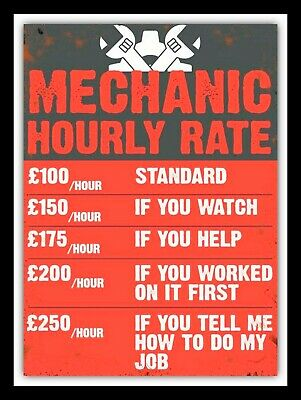 £4.58 • Buy Mechanic Funny Hourly Rate, Retro Vintage Style Metal Sign Man Cave Shed Garage