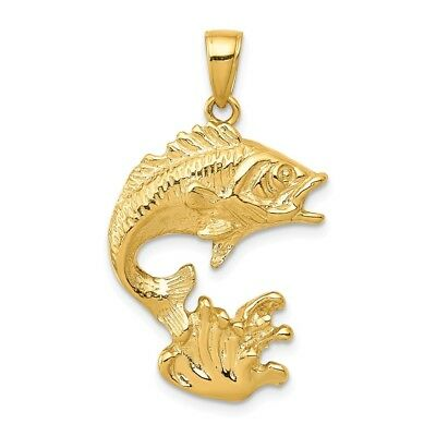 14K Yellow Gold Polished Open-Backed Bass Fish Charm Pendant 1.22 Inch • 318.06$