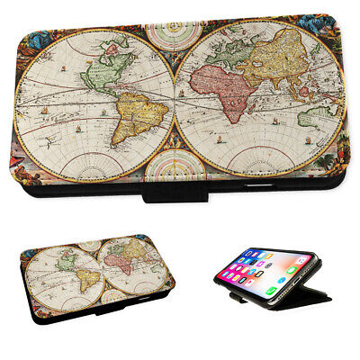 Vintage World Maps - Flip Phone Case Wallet Cover Fits Iphone 4 5 6 7 8 X 11 • 9.95£