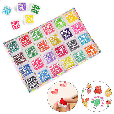 Set Of 24 Colors Rubber Stamps Pigment Ink Pads For Paper Wood Fabric Craft UK • 6.79£
