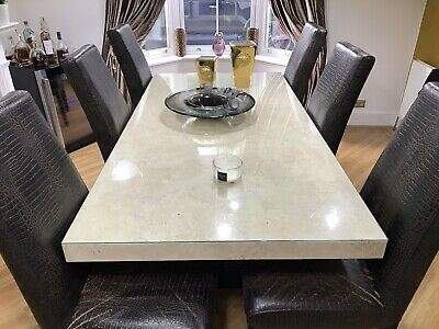 Stone International Marble Dining Table & 6 Chairs • 2,000£