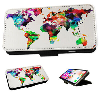 Colourful World Map Art - Flip Phone Case Wallet Cover Fits Iphone 5 6 7 8 X 11 • 5.95£