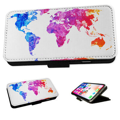 World Map Art - Flip Phone Case Wallet Cover Fits Iphone 5 6 7 8 X 11 • 5.95£