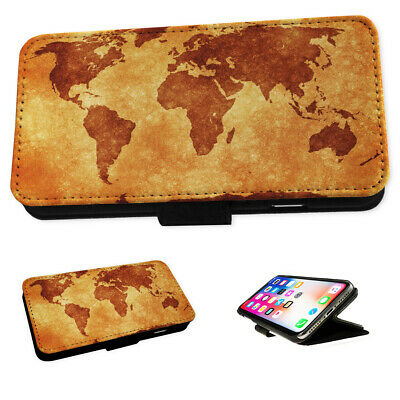 Vintage World Map - Flip Phone Case Wallet Cover Fits Iphone 5 6 7 8 X 11 • 5.95£