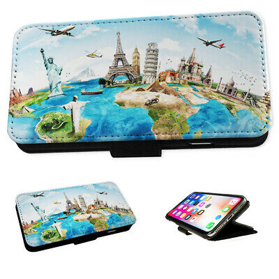 Epic World Map Sites - Flip Phone Case Wallet Cover Fits Iphone 5 6 7 8 X 11 • 5.95£