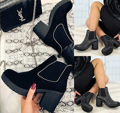 Ladies Womens Ankle Block Chunky High Platform Heels Shoes Chelsea Boots Size • 14.95£