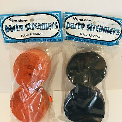 $ CDN26.41 • Buy Vintage Halloween Party Streamers Dennison Crepe Paper Orange Black  Lot Of 2