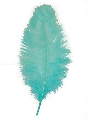 $14.99 • Buy 1 AQUA Ostrich FEATHER 23-28  Full Wing PLUMES; Bridal/Wedding/Centerpiece