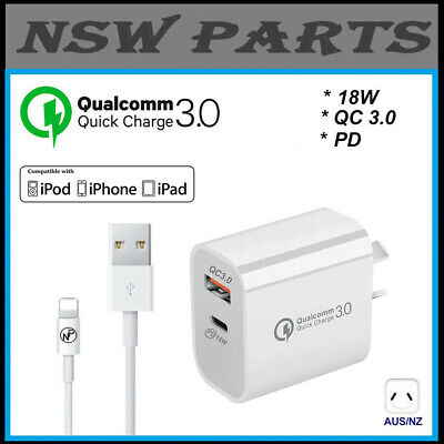 AU19.95 • Buy 18W USB-C PD 3.0 Charger Type C + QC 3.0 Charger Adapter For IPhone 5 6 7 8 X 11