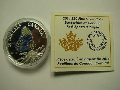 2014 Proof $20 Butterflies Of Canada #2-Red-Spotted Purple COIN&COA ONLY .9999 S • 45.42$