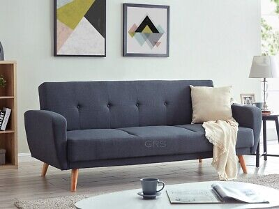 3 Seater Sofa Bed Charcoal Fabric Wooden Legs Cushioned Comfortable Sofabed • 259.99£