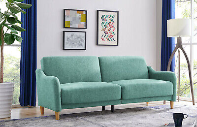 £289.99 • Buy 3 Seater Sofa Bed Grey Or Teal Fabric Wooden Legs Large Cushioned Sofabed New
