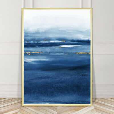 Blue & Gold Wall Art Minimalist Watercolour Painting Print Poster A4 A3 A2 A1 • 9.99£