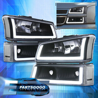 $216.99 • Buy For 03-07 Silverado LED DRL Black Housing Headlights + Signals Lamps Assembly