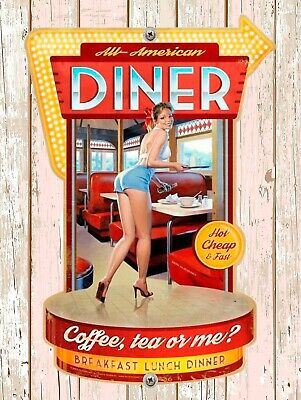 £5.15 • Buy All American Diner, Retro Replica Vintage Style Metal Sign Gift Garage