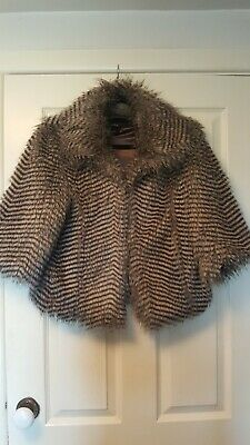 £17.99 • Buy Brave Soul Size 12 Striped Faux Fur Matinee Jacket With Three Quarter Sleeves