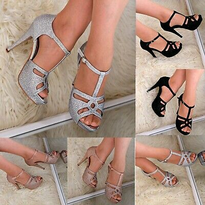 £19.95 • Buy Ladies Strappy High Heel Sandals Platform T-bar Shoes Sparkly Party Wedding Size