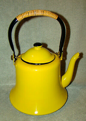 $20 • Buy Vintage Japan Yellow And Black Enamel Metal Teapot Kettle With Lid And Handle