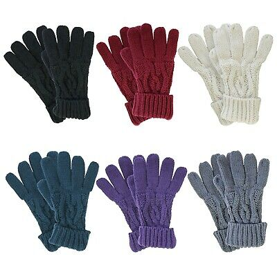 £8.99 • Buy Ladies Heat Machine Thick Warm Winter Cable Knitted Soft Thermal Gloves